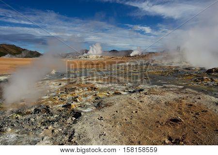 Namafjall Geothermal Area Hverir in Iceland, Europe