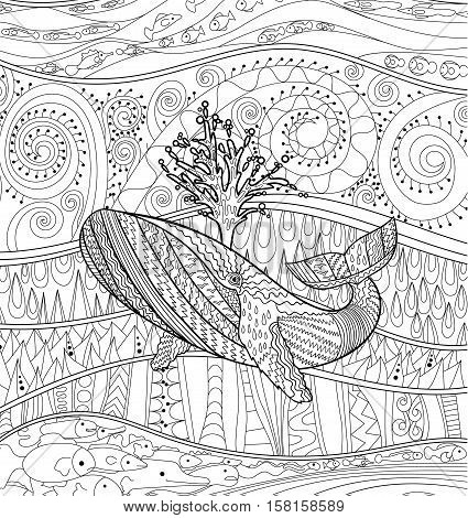 Hand drawn humpback whale for anti stress Coloring Page with high details, isolated on pattern background, illustration in zendoodle style. Vector monochrome sketch. Marine collection.