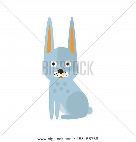 White Rabbit With Pointy Ears, Camping And Hiking Outdoor Tourism Related Item Isolated Vector Illustration. Part Of Forest Touristic Adventures Objects Collection In Cute Flat Design.