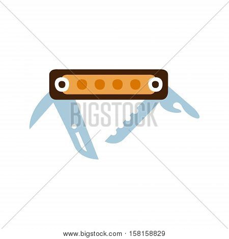 Pocket Knife With Set Of Different Tools And Blades, Camping And Hiking Outdoor Tourism Related Item Isolated Vector Illustration. Part Of Forest Touristic Adventures Objects Collection In Cute Flat Design.