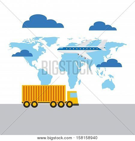 cargo truck and airplane flying over world map background. export and import concept. colorful design. vector illustration