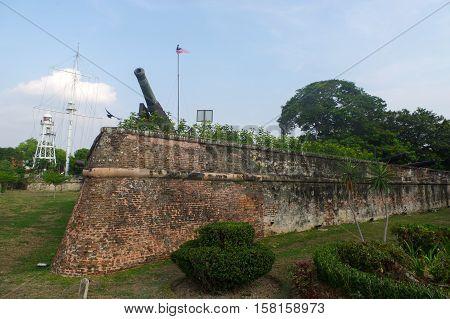 GEORGTOWN PENANG MALAYSIA - APRIL 18 2016: Fort Cornwallis with wall and canon in Georgetown Penang Malaysia Southeast Asia.