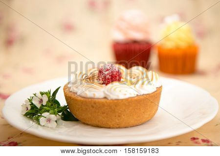 Strawberry and custard tart on a white plate