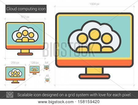 Cloud computing vector line icon isolated on white background. Cloud computing line icon for infographic, website or app. Scalable icon designed on a grid system.