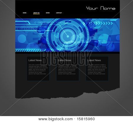 Website template with blue technology illustration.