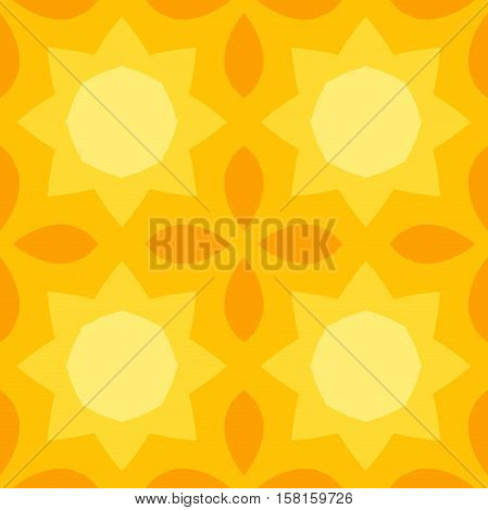 Seamless texture with a yellow sun and orange leaves pattern in simple style. Suitable for print on textiles bed sheets tablecloths wrapping paper kitchen tiles or as a mobile or PC background.