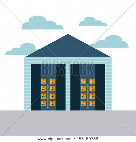 warehouse with carton boxes. export and import concept. colorful design. vector illustration