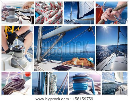 Yacht collage. Living on the sea.Yachting concept