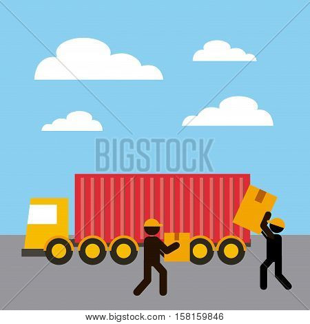 cargo truck with workers holding a carton boxes. export and import concept. colorful design. vector illustration