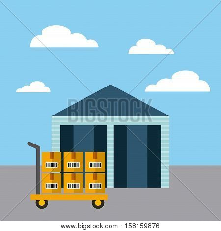 warehouse with handcart with carton boxes. export and import concept. colorful design. vector illustration