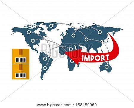 world map with network dots. export and import concept. colorful design. vector illustration