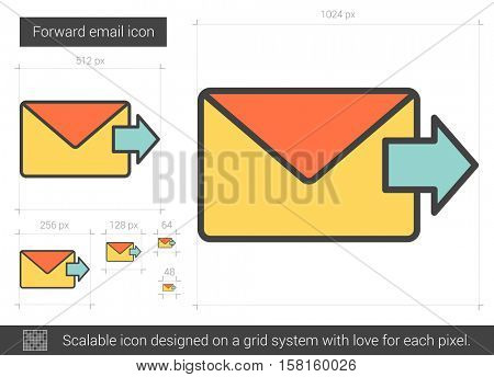 Forward email vector line icon isolated on white background. Forward email line icon for infographic, website or app. Scalable icon designed on a grid system.