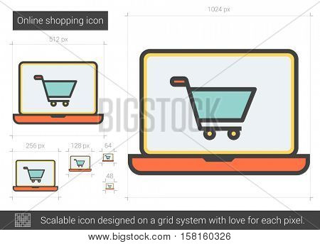 Online shopping vector line icon isolated on white background. Online shopping line icon for infographic, website or app. Scalable icon designed on a grid system.