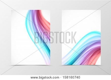 Front and back swirl flyer template design. Abstract template with colorful lines in wavy soft style. Vector illustration