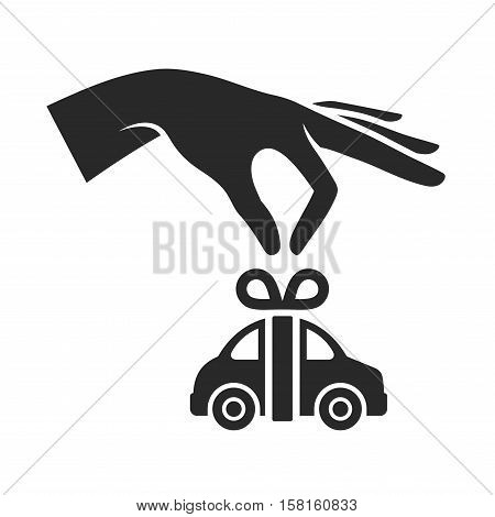 Hand with Car on White Background. Gift Icon. Vector illustration