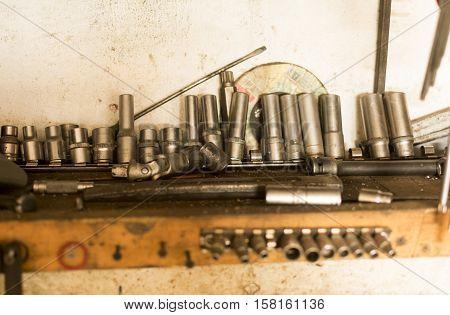 old master tool for metal on the desktop in the metal workshop