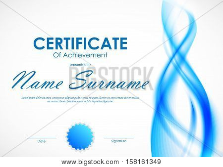Certificate of achievement template with light blue transparent wavy smoky soft background and seal. Vector illustration