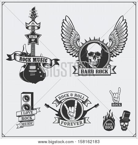 Rock'n'Roll music symbols, labels, emblems and design elements.