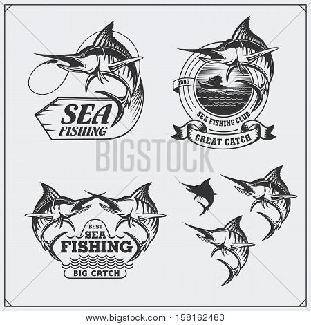 Set of sea fishing labels, badges and design elements. Marlin illustrations. Vintage style.
