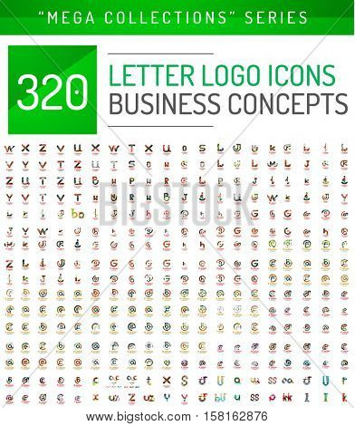 Huge mega collection of letter logo business icons. Abstract geometric design symbols