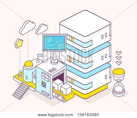 Vector Illustration Of Server, Hourglass, Three Dimensional Mechanism With Conveyor And Monitor On L