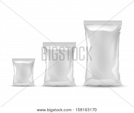 Vector Set of Vertical Sealed Empty Plastic Foil Bags of Different Size for Package Design with Smooth Edges Front View Close up Isolated on White Background.