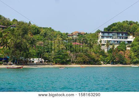 a beautiful landscape sea near bridge pier at beach of Laem Panwa Cape famous attractions in Phuket island Thailand