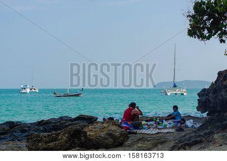 PANWA BEACH, PHUKET, THAILAND - MARCH 30, 2016: a beautiful landscape sea near bridge pier at beach of Laem Panwa Cape famous attractions in Phuket island Thailand