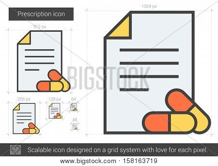 Prescription vector line icon isolated on white background. Prescription line icon for infographic, website or app. Scalable icon designed on a grid system.