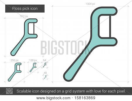 Floss pick vector line icon isolated on white background. Floss pick line icon for infographic, website or app. Scalable icon designed on a grid system.
