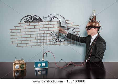 Junk Mail 3 concept with vintage businessman pointing hand