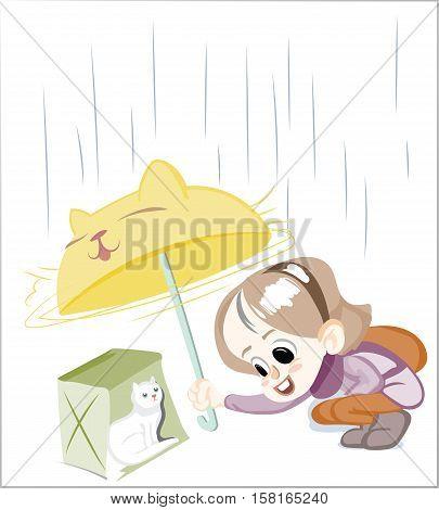 Little Happy Girl Under The Rain Vector