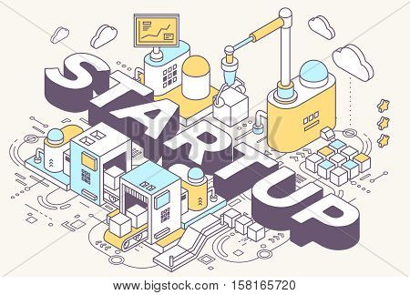 Vector Illustration Of Word Startup And Three Dimensional Mechanism With Conveyor, Robotic Hand On L