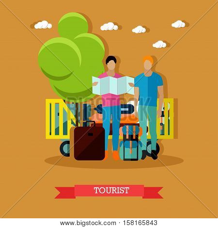 Vector illustration of tourists with baggage after arrival. One tourist is looking at map. Travel by air concept design element in flat style.