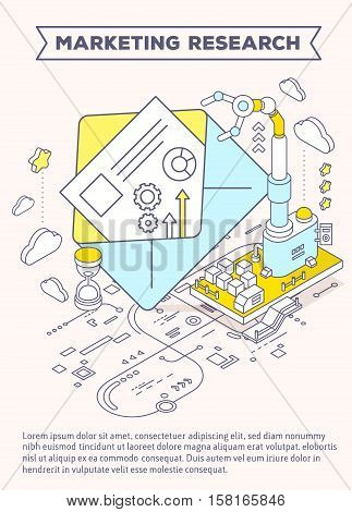 Vector Template With Illustration Of Envelope, Hourglass And Three Dimensional Mechanism With Roboti