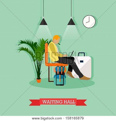 Vector illustration of passenger man sitting in waiting hall. Departure lounge. Travel by air concept design element in flat style.