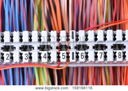 Telecommunication Equipment, Main Distribution Frame with Cables, Closeup