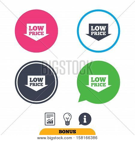 Low price arrow sign icon. Special offer symbol. Report document, information sign and light bulb icons. Vector