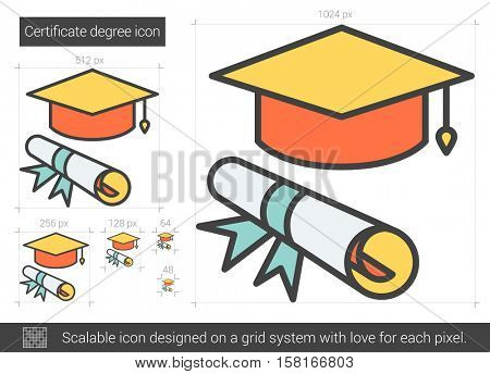 Certificate degree vector line icon isolated on white background. Certificate degree line icon for infographic, website or app. Scalable icon designed on a grid system.