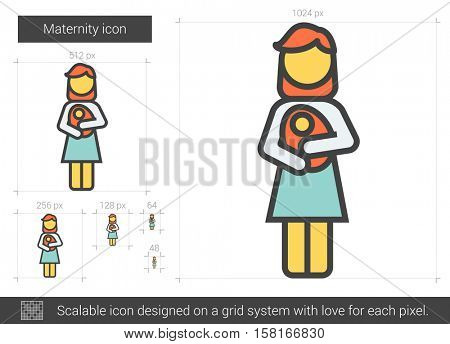 Maternity vector line icon isolated on white background. Maternity line icon for infographic, website or app. Scalable icon designed on a grid system.
