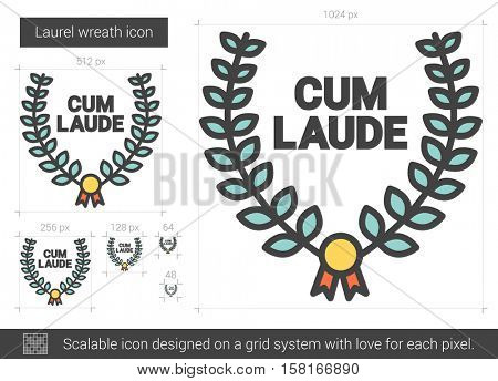 Laurel wreath vector line icon isolated on white background. Laurel wreath line icon for infographic, website or app. Scalable icon designed on a grid system.
