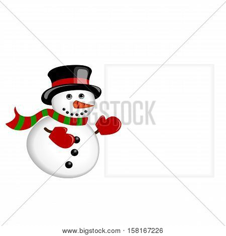 Snowman wearing a hat scarf and gloves standing near the blank banner isolated on white