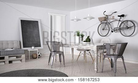 DIY couch sofa pallet scandinavian white living interior design, 3d illustration