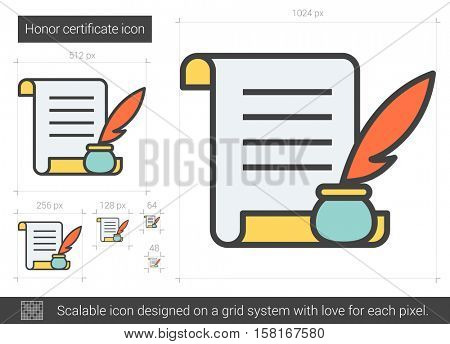 Honor certificate vector line icon isolated on white background. Honor certificate line icon for infographic, website or app. Scalable icon designed on a grid system.