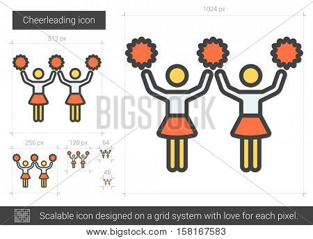 Cheerleading vector line icon isolated on white background. Cheerleading line icon for infographic, website or app. Scalable icon designed on a grid system.
