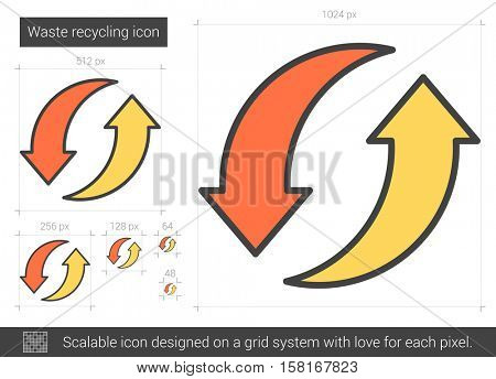Waste recycling vector line icon isolated on white background. Waste recycling line icon for infographic, website or app. Scalable icon designed on a grid system.