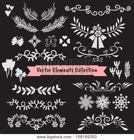 Vector doodle flower ornament illustration element collection