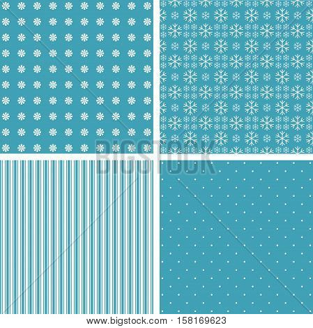 Blue different vector patterns. Blue and white colors.