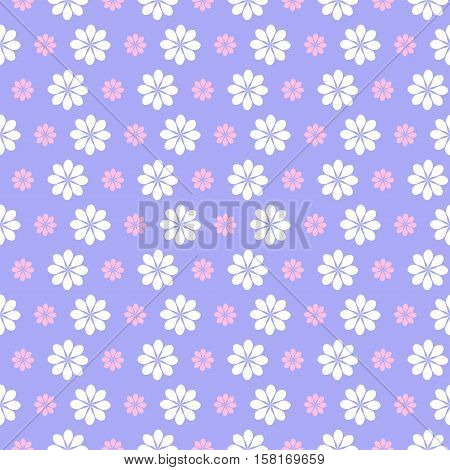 floral lilac pattern white flowers on lilac background.