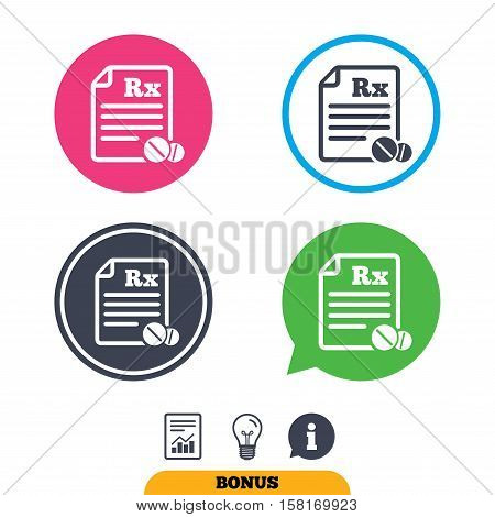 Medical prescription Rx sign icon. Pharmacy or medicine symbol. With round tablets. Report document, information sign and light bulb icons. Vector